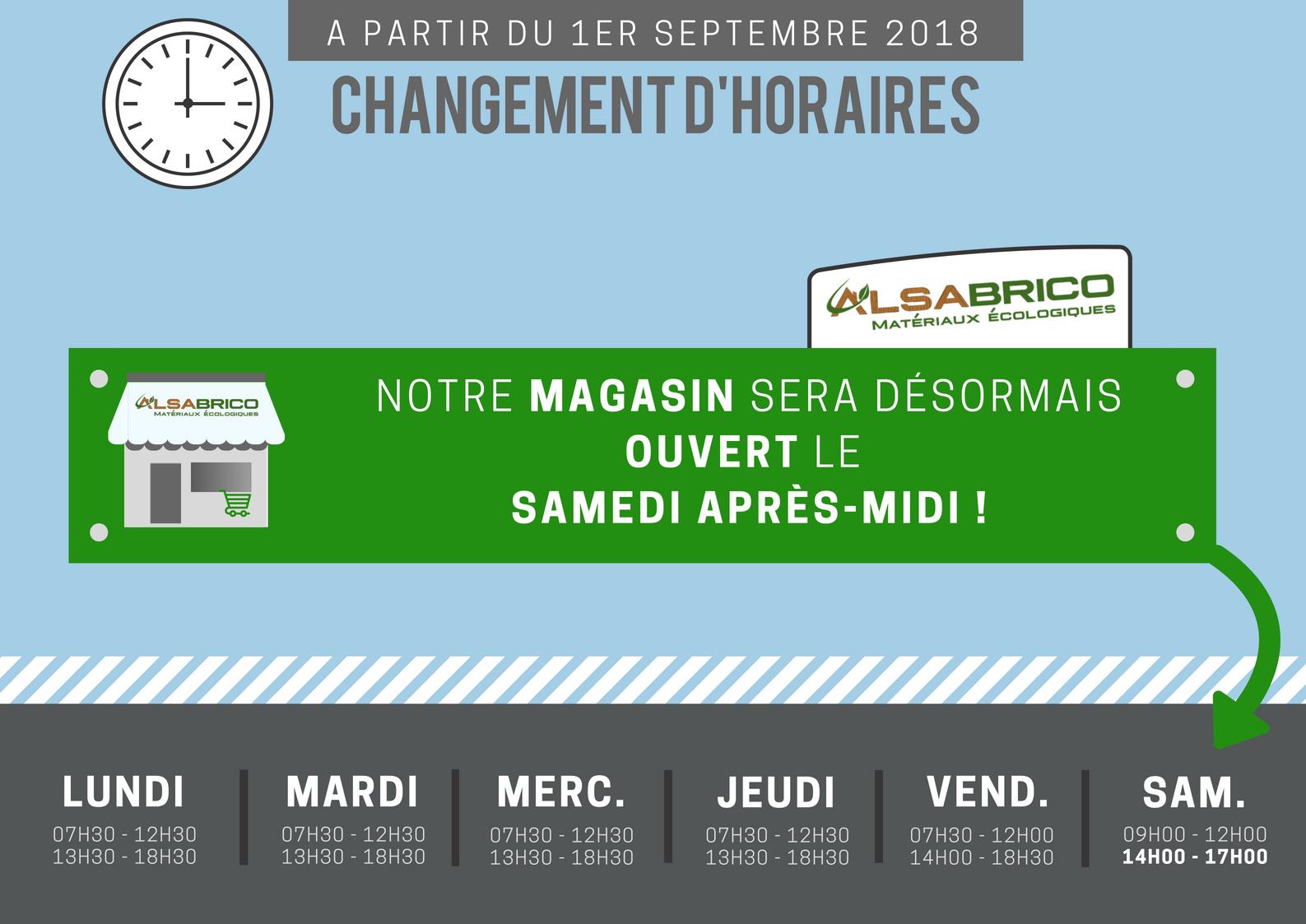 Changement horaires Alsabrico (Rentrée 2018)