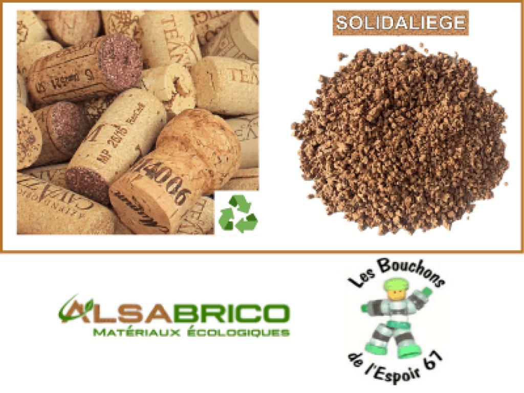 Les bouchons de liège SOLIDALIEGE, logo des bouchons de l'espoir, logo Alsabrico et concassage des bouchons en granulat.