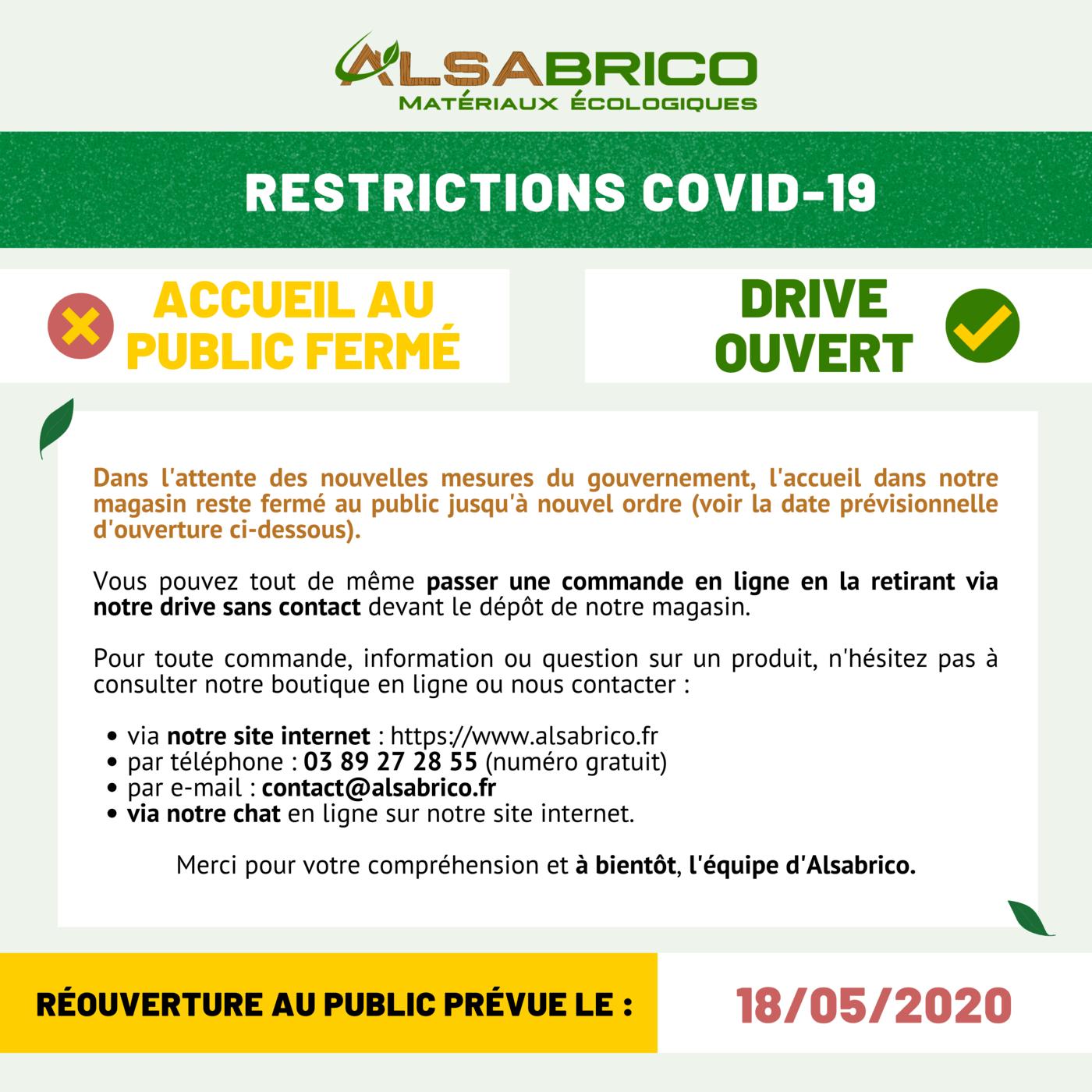 COVID-19 : Restriction : l'accueil au public est fermé jusqu'au 18 mai 2020