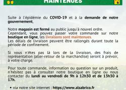 Livraison des commandes COVID-19 (Coronavirus)